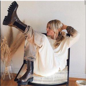 Zara chunky lug sole leather ankle boots NWT